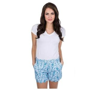 NWT Lauren James Blue Print Scallop Shorts XS